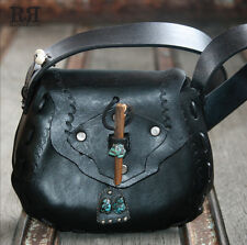 One-Of-A-Kind STERLING SILVER & TURQUOISE Tooled LEATHER Saddle Bag Purse SIGNED