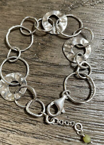 Silpada B1217 Sterling Silver 925 Hammered Circle Link Paper Chain Bracelet