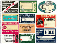 STEAMSHIP LUGGAGE STICKERS & Travel Trunk Tags, 1 Sheet, 11 Travel REPRODUCTIONS