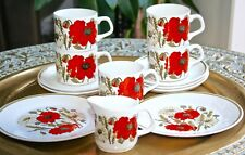 1960'S J & G MEAKIN STUDIO POPPY 5 COFFEE CUPS SAUCERS  JUG + 2 SMALL PLATES