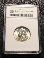 1956 D/D Silver Washington Quarter- RPM-2 - ANACS MS64 ~ INV#3791