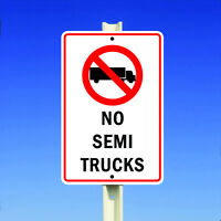 No Semi Trucks With Symbol Aluminum Metal 8x12 Sign