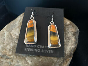 Womens Native American Navajo Bumblebee Jasper Sterling Silver Earrings 473