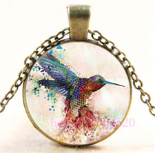 Silver/Black/Bronze Chain Pendant Necklace#Dl9 Hummingbird Photo Cabochon Glass