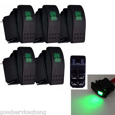 5 X 12V 20A 4Pin Car Auto Fog Light Rocker Toggle Switch Green LED Dashboard