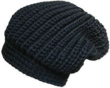 Mens or Womens Chunky Rib Knit Slouch Beanie Oversize Black Winter Hat - HTB-011