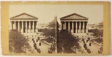 Paris Instantané La Madeleine Rue Royale Photo Stereo Vintage Albumine c1865