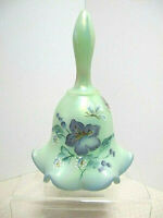 Fenton Sea Green Iridescent Glass Hand Painted Crimped Bell-Signed C.Smith 1998