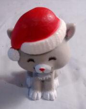 Vintage Hallmark 1980 Merry Miniature Kitten with Santa Hat Grey Cat - Fast Ship