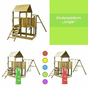 Spielturm Spielhaus Garten Stelzenhaus Jungle mit Schaukel, Sandkasten + Zubehör
