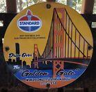 VINTAGE 1958 DATED GOLDEN GATE BRIDGE STANDARD GASOLINE PORCELAIN GAS OIL SIGN