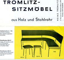La pubblicità Pubblicità Heinz Tromlitz sede mobili in legno tubo di acciaio Hannover PANCA SGABELLO