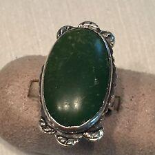 """Vtg Sterling Silver Green Jade Ring Bezel Set Scalloped Frame 1 3/8"""" Sz 5.5"""