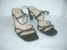 ESCADA BLACK  SATIN SANDALS HEELS SHOES  SZ  7 1/2 B