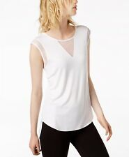 Bar III Mesh-Trim High-Low Top Bright White L 1115 (Mew's Market) NEW $44.50