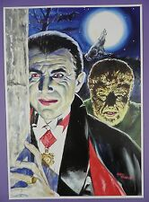 Bela Lugosi, Dracula & Lon Chaney Jnr, Wolfman - Walt Howarth Signed Print