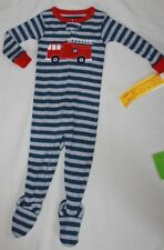 NEW~CARTERS TODDLER BOY STRIPED FIRETRUCK COTTON SLEEPER PAJAMAS SIZE 12 MONTH