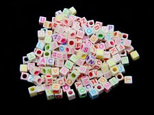 200 Pcs - 6mm White -  Mixed Colour Letter's Cube Alphabet Letter Beads Mix T177