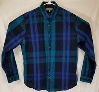 Express Men's Size XL Long Sleeve Blue Plaid Button Front Shirt