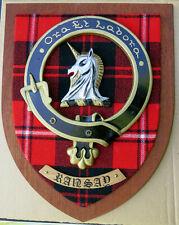"NOS Scottish Clan RAMSAY / RANSAY Tartan Plaque Crest Shield LARGE 12"""