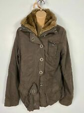 WOMENS ESPRIT BROWN ZIP/POPPER CASUAL FAUX FUR COLLAR COAT JACKET SIZE SMALL S
