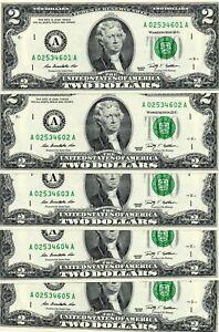 LOT of 5 CONSECUTIVE Serial Numbers US $2 BILLS 2009 Uncirculated Crisp