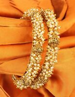 Indian Bollywood Polki Wedding Beautiful Gold plated Ethnic Bangles Jewellery