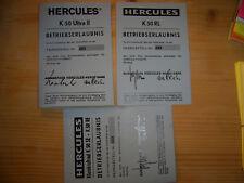 Betriebserlaubnis ABE, Hercules K 50 Ultra /  K 50 SE- K 50 RE / K50 RL