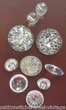 Antique Vintage Buttons-Mixed Clear Glass Thousand Eye Faceted Oblong Ball
