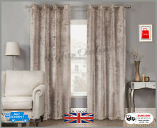 New Plush Crushed Velour Faux Velvet / Eyelet Ring Top Curtains 5 Colours
