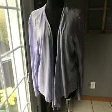 Chico's Lavender Silver Shimmer Rayon Viscose Open Draped Knit Cardigan Top 3