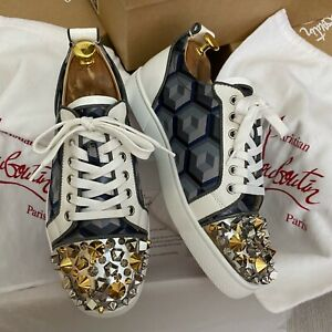 Authentic Christian Louboutin White Leather Sneakers Spikes 6UK 40 6
