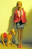 Mattel Barbie Doll in Pink top with jean skirt and mini pony