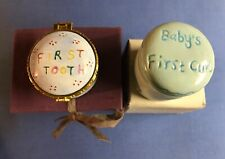 New~baby's 1st Curl & First Tooth keepsake boxes~1 blue ceramic & 1 enamel~boy's