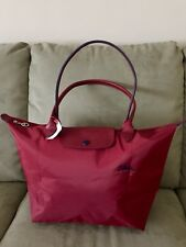 Large LONGCHAMP LE CLUB PLIAGE Limited Edition RED With Navy Long Handle Paris!