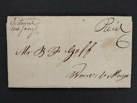 Massachusetts: Ireland 1844 Stampless Cover, Ms, DPO Hampden Co