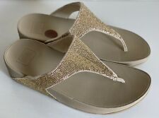 NEW FITFLOP ELECTRA PALE GOLD SEQUIN THONG SANDALS SLIPPERS FLIP-FLOPS 8 39 SALE