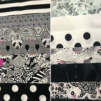 100% Cotton Fabric Lot/ Remnant Package. 216 Strips! 4.25lbs.  Black And White.