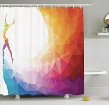Shower Curtain Geometric Silhouette Gymnast Print 17322 With Arrow Shower Hooks