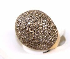 Round Fancy Color Brown Diamond Cluster Dome Fashion Ring 18k Rose Gold 10.18Ct