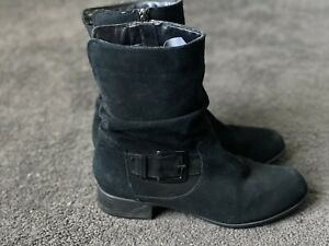 Black Suede Ankle Boots Size 9.1/2 Supersoft By Diana Ferrari
