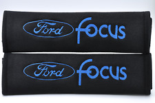 Blue on Black Embroidery Seat Belt Cover Soft Harness Pads For Ford Focus