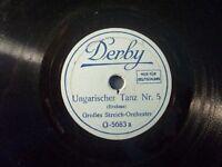 """GROßES STREICH-ORCHESTER """"Ungarischer Tanz Nr. 5 & 6"""" Derby 78rpm 20cm 1930"""