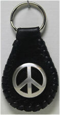 Handcrafted Leather Key Ring with Peace Sign Concho