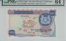 Singapore Orchid $100 GKS with seal A/2 544030 UNC PMG 64 Original