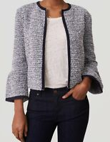 Ann Taylor LOFT Knit Tweed Bell Sleeve Jacket Various Sizes NWT Fresh Navy Color