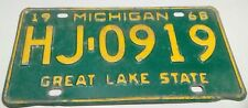 1968 ORIGINAL MICHIGAN STATE AUTO LICENSE PLATE HJ-0919 CLASSIC VINTAGE VEHICLE