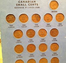 Complete set of Canada Small Cents in Whitman folder - includes all key dates