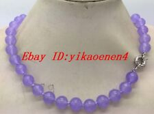 """Natural 8mm Purple Lavender Topaz Round Gemstone Beads Necklace 18""""AAA"""