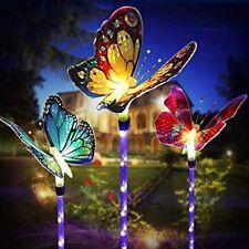 Led Garden Solar Lights Outdoor Decorative - 3 Pack Butterfly Solar Flower Lawn